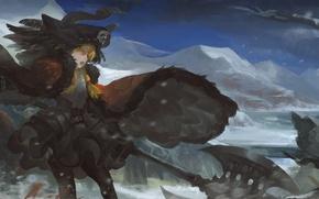 Картинка зима, небо, девушка, облака, горы, пистолет, оружие, корабль, череп, шляпа, аниме, арт, пират, рога, шлем, …