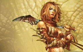 Обои оружие, кровь, Девушка