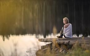 Картинка девушка, природа, озеро