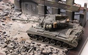 Обои руины, танк, Pershing, моделька, игрушка