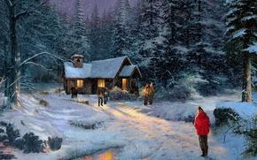 Картинка зима, лес, свет, снег, ночь, шторм, фильм, зимний, церковь, красивая, живопись, заброшенная, темная, загадочный, Thomas …