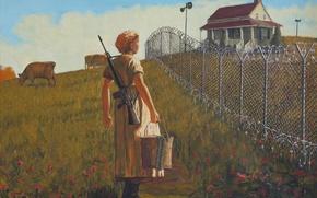 Картинка оружие, женщина, картина, banksy