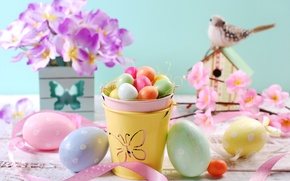 Картинка цветы, яйца, весна, Пасха, flowers, spring, Easter, eggs, decoration, Happy