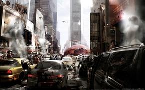Обои Prototype, эпидемия, нью-йорк, люди, машины, хаос, вирус, город