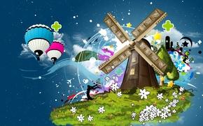 Картинка цветы, коллаж, шары, мельница