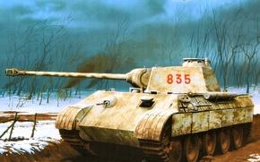 Картинка рисунок, пантера, танк, немцы, вермахт, средний, PzKpfw V, Wrobel