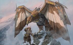 Картинка фантастика, птица, человек, робот, крылья, арт, Robert Chew