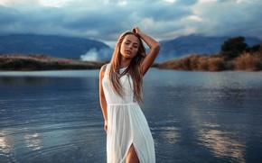 Картинка небо, вода, девушка, платье, Mary Jane, Ivan Gorokhov