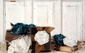 Картинка фон, праздник, обои, настроения, розы, лента, подарки, украшение, бантик, широкоформатные, коробки, розочки, полноэкранные, HD wallpapers, …