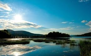 Картинка лето, солнце, деревья, озеро, холмы, камыш