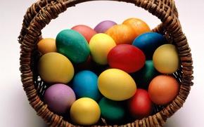 Картинка корзина, пасха, яйца крашенные