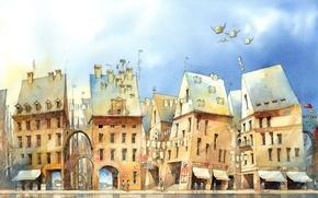 Картинка люди, рисунок, здания, дома, арт, полёт, арки, Tytus Brzozowski
