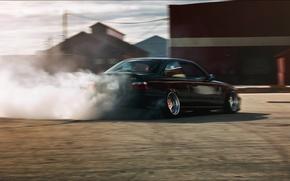 Картинка тюнинг, бмв, BMW, черная, дрифт, black, stance, e36