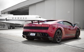 Обои Lamborghini, ангар, red, Superleggera, Gallardo, самолёт, красная, ламборджини, ламборгини, галлардо, суперлегера, LP570