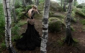 Картинка девушка, деревья, платье, Tatiana Mercalova, Ольга Кобзар