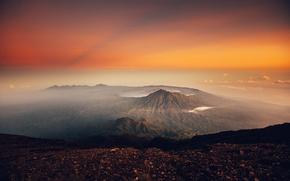 Картинка земля, горы, облака, закат