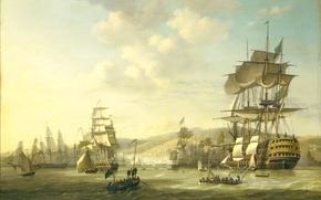 Картинка море, небо, облака, пейзаж, горы, люди, лодка, корабль, парусник, картина