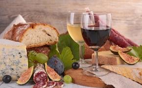Картинка вино, сыр, хлеб, виноград, листики, инжир, калбаса