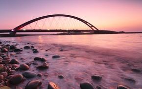 Картинка подсветка, мост, Germany, Германия, Fehmarnsund Bridge, берег, розовый, море, вечер, океан, фонари, штиль, камни, закат