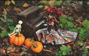 Картинка осень, кукла, скелет, тыква, Хэллоуин, by AmeliaMadHatter