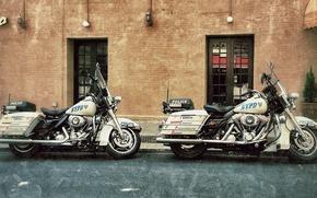 Картинка мотоциклы, улица, Harley-Davidson, полицейские, дорожный патруль