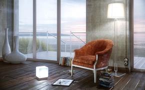 Картинка море, комната, побережье, книги, окна, кресло, рамка, торшер, разбитое, обстановка