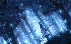 Картинка лес, девушка, деревья, природа, аниме, арт, рога, bou nin