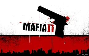 Обои красный, mafia2, пистолет, черный