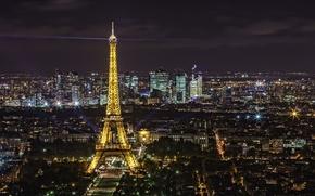 Обои огни, ночь, эйфелева башня, Франция, Париж, панорама