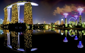 Картинка lights, skyline, water, Night, view, Singapore, buildings, skyscrapers, Asia, Lake, Pond, Casino, Marina Bay Sands ...
