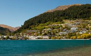 Обои Новая Зеландия, озеро, фото, дома, Queenstown, Lake Wakatipu, город