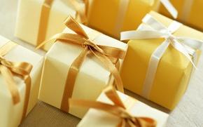 Картинка макро, ленты, подарки, бантики, много, ленточки, коробочки