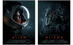 Обои aliens, Alien, science fiction, 1979, helmet, 1986, space suit, Sigourney Weaver, posters of classic movies