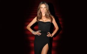Картинка грудь, девушка, лицо, секси, улыбка, фон, модель, тело, фигура, платье, ступеньки, Alessandra Ambrosio, sexy, красотка, …