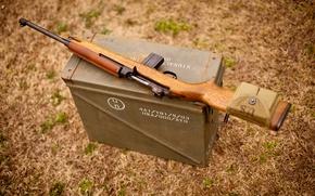 Картинка трава, ящик, военный, карабин, лёгкий, самозарядный, M1 Carbine