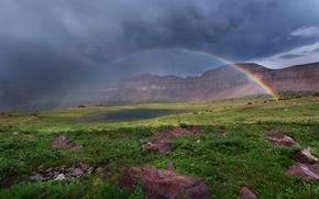 Картинка цветы, радуга, тучи, горы, озеро, облака, небо, трава, камни