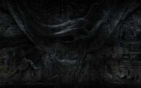 Картинка барельеф, Skyrim, The Elder Scrolls V, Стена Алдуина, TES V