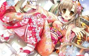 Картинка девушка, тигр, новый год, аниме, арт, ступеньки, ушки, снежинка, хвостик