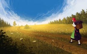 Картинка дорога, поле, лес, небо, девушка, облака, цветы, арт
