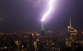 Картинка USA, rain, lightning, New York, Manhattan, winter, Empire State Building, purple, thunder, charge, United States …