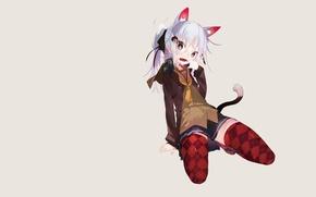 Картинка девушка, юбка, минимализм, чулки, наушники, хвост, серый фон, неко, этти, ушки, простой фон
