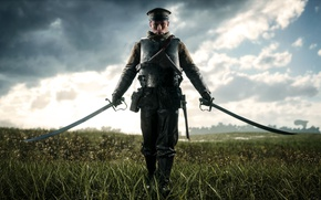 Картинка поле, небо, солдат, сабли, Electronic Arts, Battlefield 1