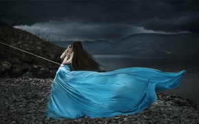 Картинка девушка, ситуация, верёвка