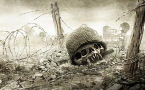 Картинка смерть, ограждение, война, Resistance, череп