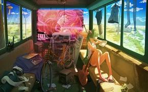 Обои кошка, девушка, велосипед, одежда, гитара, автобус, vocaloid, hatsune miku, путешествие