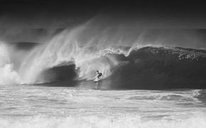 Картинка океан, волна, Hawaii, черно-белое фото, Oahu, North Shore, cерфигист