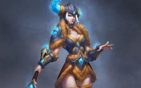 Картинка девушка, фон, арт, шлем, доспех, League of Legends, Sejuani
