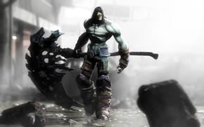 Обои darksiders, смерть, post apocalyptic, grim reaper, руины, город, death, reaper