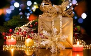 Картинка украшения, огонь, праздник, коробка, подарок, свеча, бант