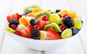 Обои ягоды, миска, фрукты, десерт, fruits, dessert, berries, фруктовый салат, bowl, fruit salad